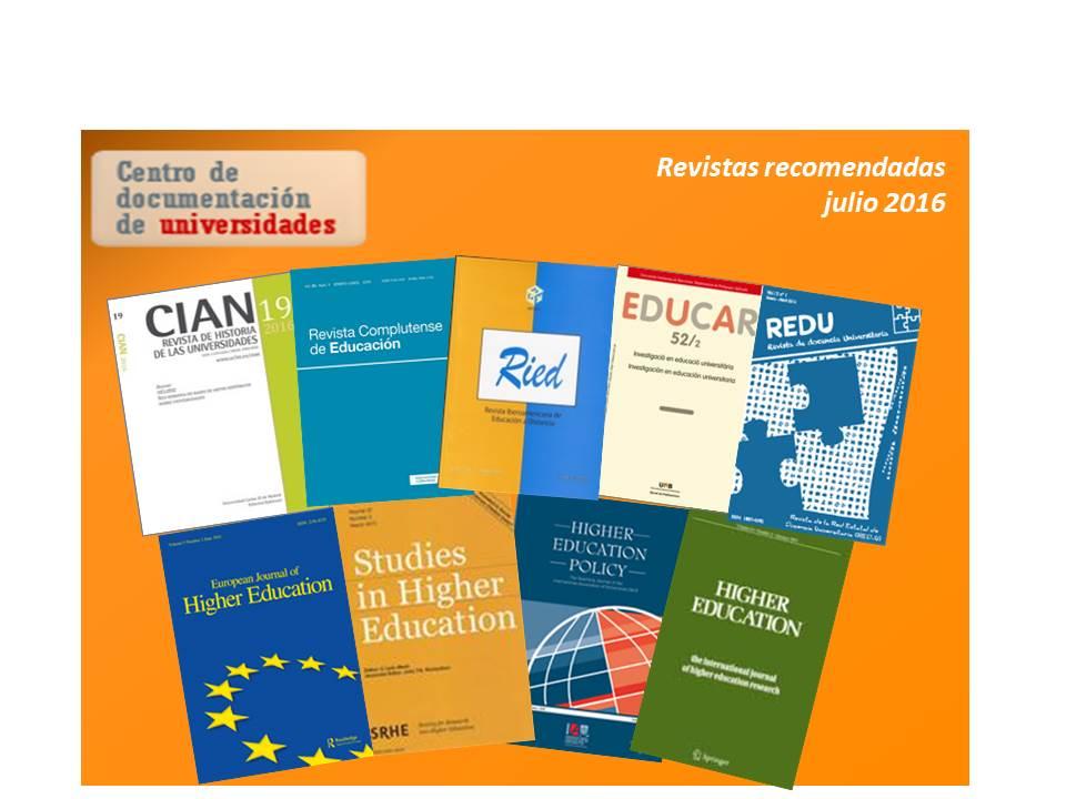 Revistas recomendadas (julio 2016)